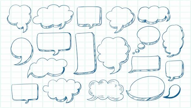 Boceto dibujado a mano conjunto de burbujas de discurso vector gratuito