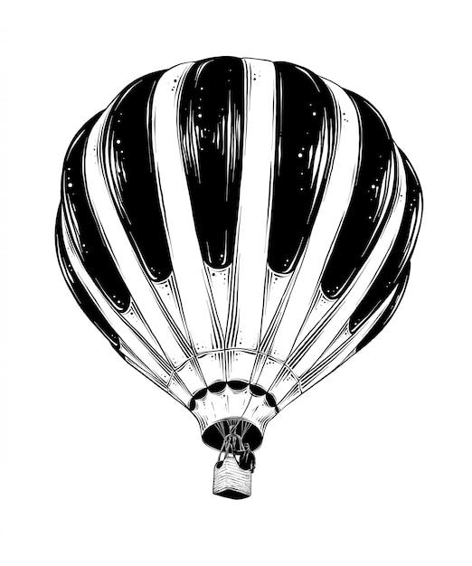 Boceto dibujado mano del globo de aire caliente en negro aislado en blanco. Vector Premium