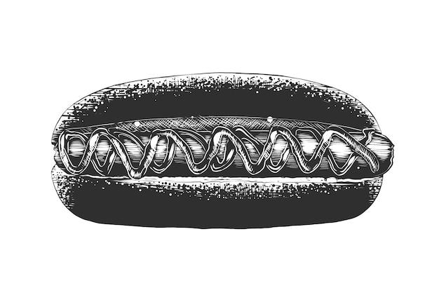 Boceto dibujado a mano de hot dog en monocromo Vector Premium