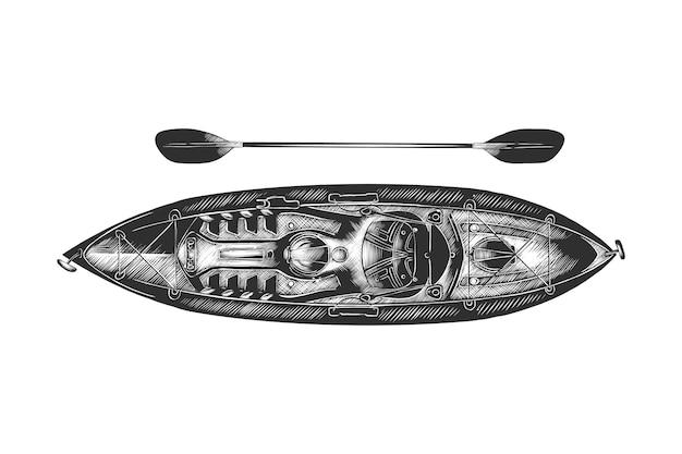 Boceto dibujado a mano de kayak en monocromo Vector Premium