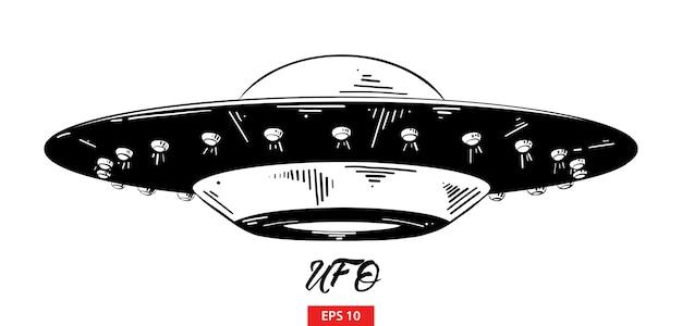 Boceto dibujado a mano de ufo en negro Vector Premium