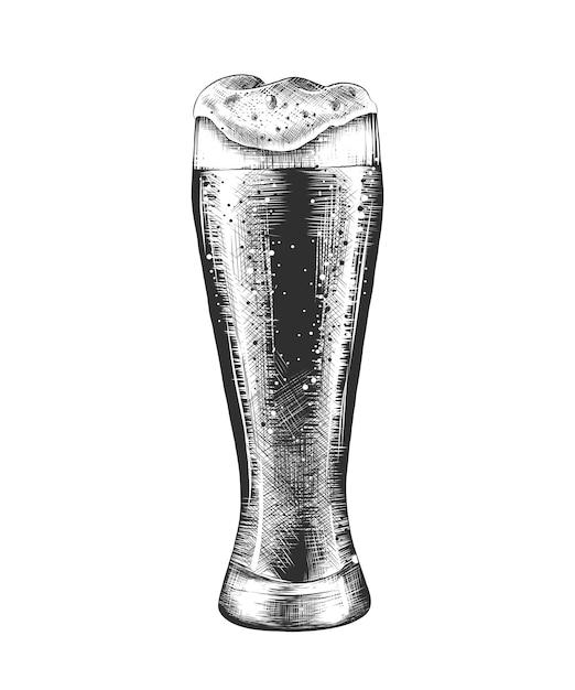 Boceto dibujado a mano de vaso de cerveza en monocromo Vector Premium