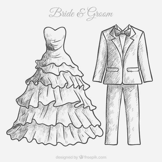 boceto dibujado a mano de vestido de novia y traje de novio