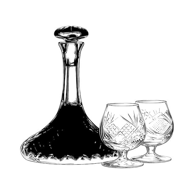 Boceto dibujado a mano de vino judío en negro Vector Premium