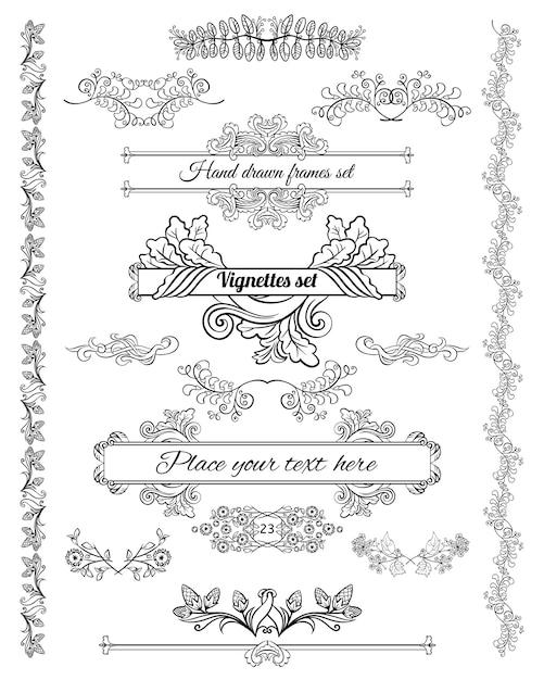 Boceto de elementos de diseño decorativo floral conjunto de hermosos marcos bordes de esquina vector gratuito