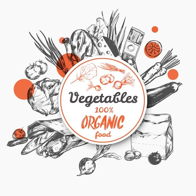 Boceto etiqueta alimentos orgánicos vector gratuito