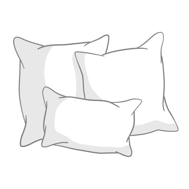 Boceto de ilustración de almohadas Vector Premium