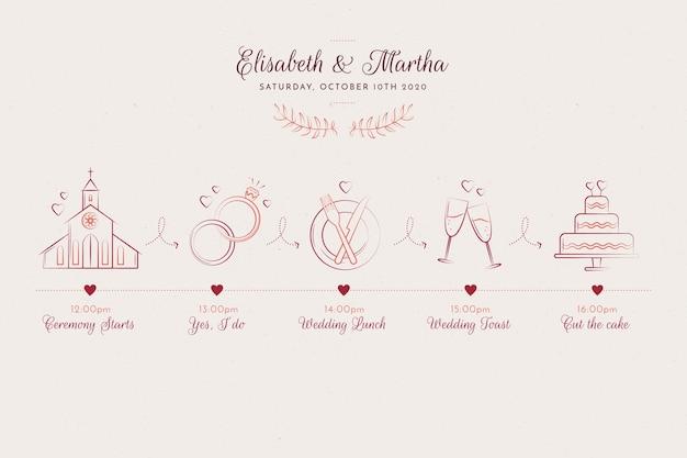 Boceto línea de tiempo de boda estilo dibujado a mano vector gratuito