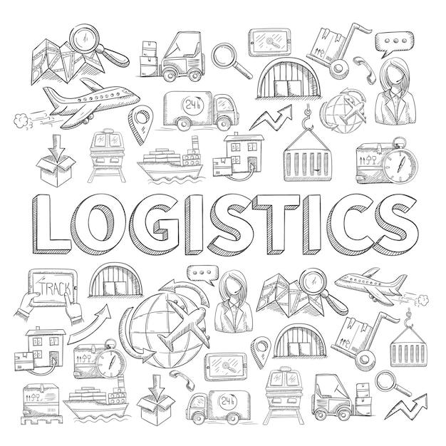 Boceto logístico concepto vector gratuito