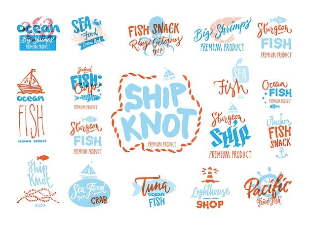 Boceto de logotipos premium de mariscos con inscripciones manuscritas de diferentes animales marinos vector gratuito