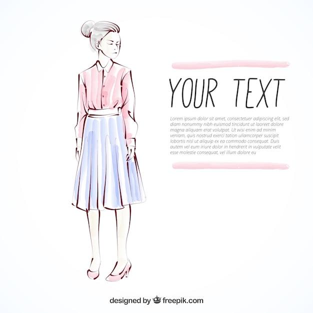 Boceto de una mujer vestida con camisa y falda  5d13ccf36a832