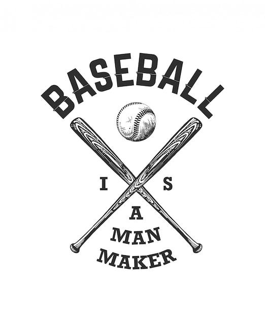 Boceto de pelota de béisbol y bate con tipografía. Vector Premium