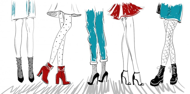 Boceto de piernas de mujer en zapatos sandalias botas. Vector Premium