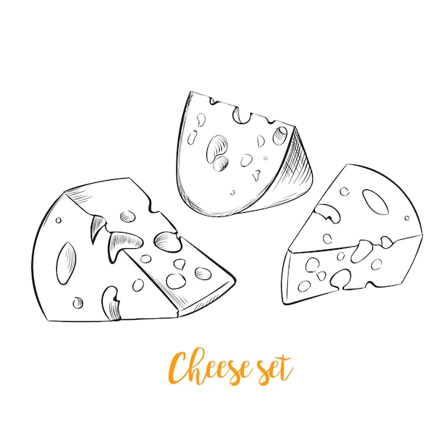 Boceto de queso conjunto handdrawn vector gratuito