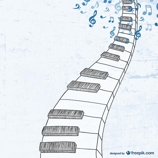 Boceto de teclado de piano vector gratuito