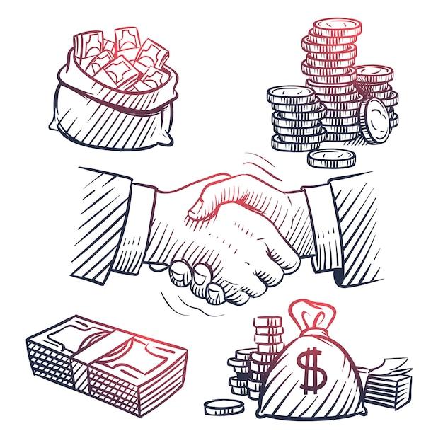Boceto temblor de mano. garabatos de paquetes de dólares, bolsa de dinero, monedas de oro y símbolos de efectivo. Vector Premium