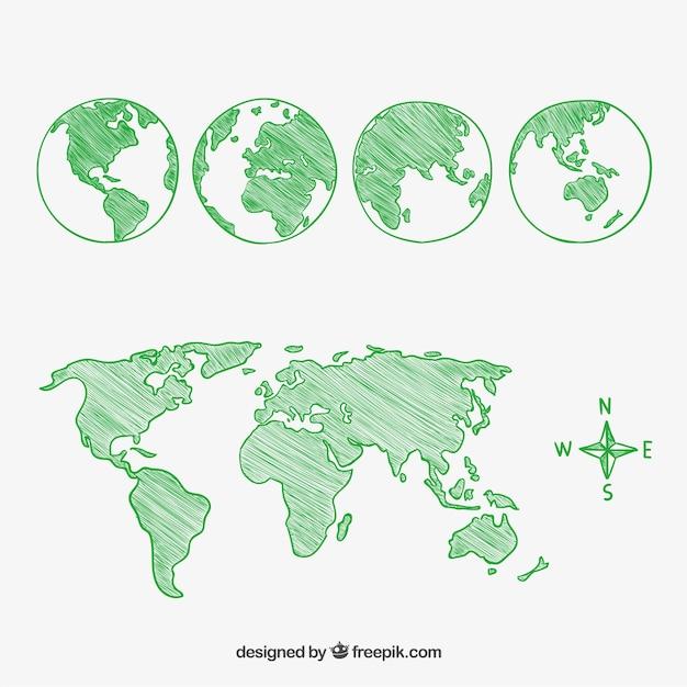 Bocetos de la bola del mundo y continentes vector gratuito