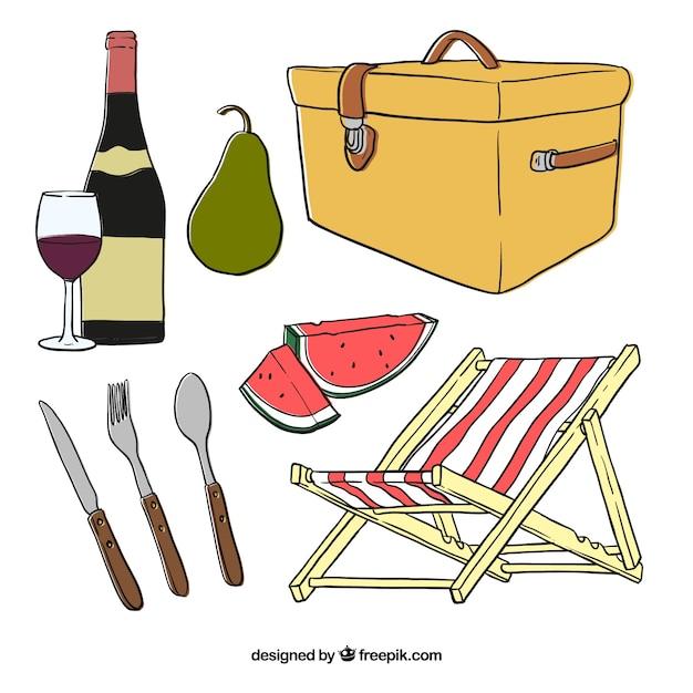 Bocetos de cesta con elementos de picnic | Descargar Vectores gratis