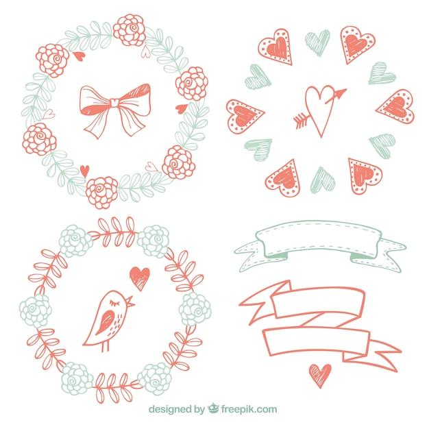Bocetos de marcos florales y cintas en estilo vintage   Descargar ...