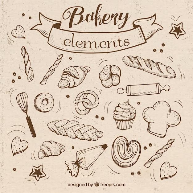Bocetos de elementos de panadería con utensilios vector gratuito