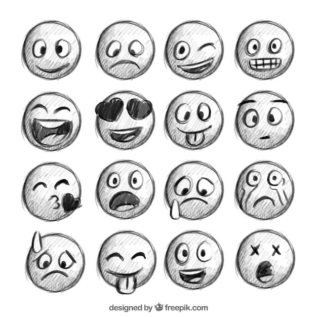 Bocetos de emoticonos vector gratuito