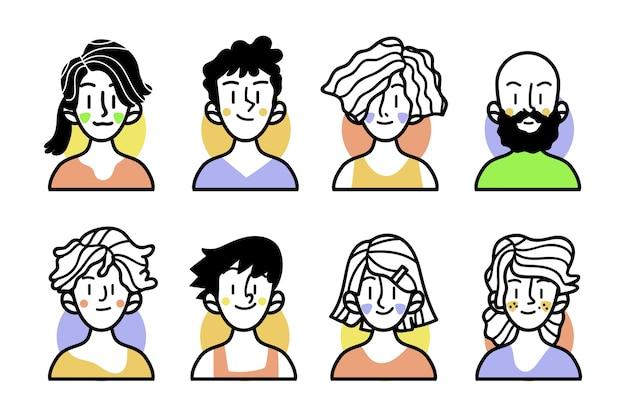 Bocetos de personas con ropa colorida. vector gratuito