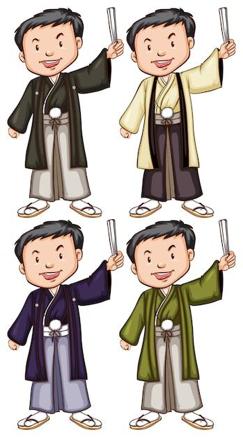 Bocetos simples de hombres de asia vector gratuito