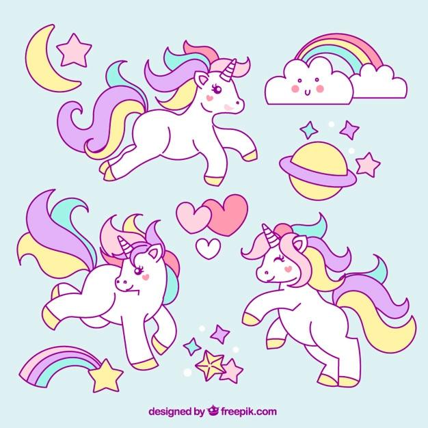 Bocetos de unicornio con adorables elementos Vector Premium