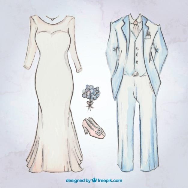 bocetos de vestido de novia y traje de novio con accesorios