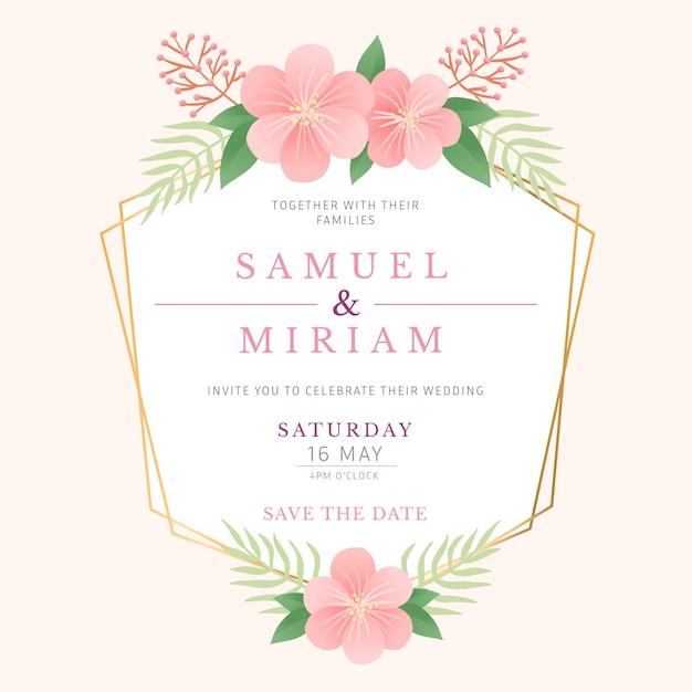 Boda elegante estilo de marco floral vector gratuito
