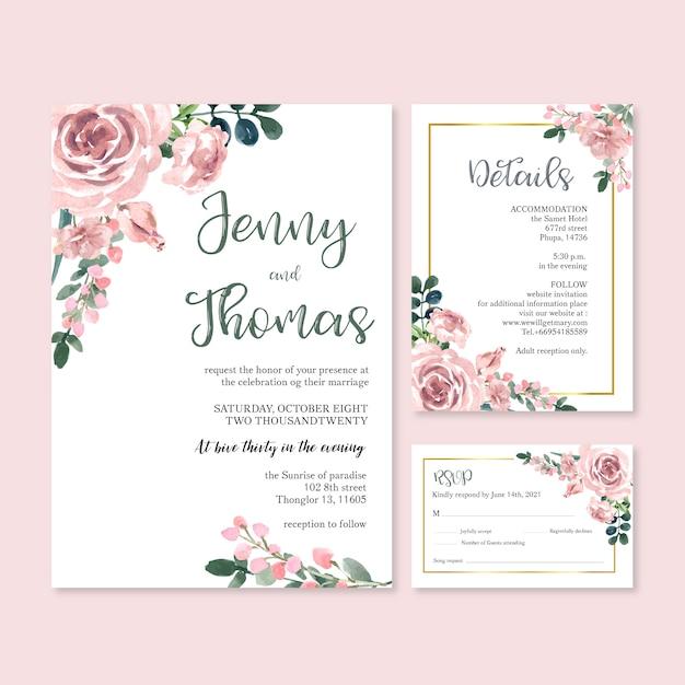 Boda feliz tarjeta floral de la invitación del jardín de la boda boda, detalle del rsvp. vector gratuito