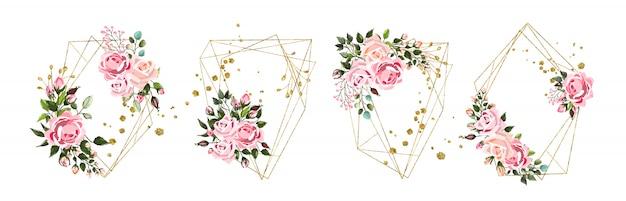 Boda floral dorado geométrico triangular marco con flores rosas rosas y hojas verdes aisladas vector gratuito