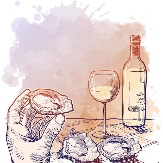 Bodegón dibujo con una mano sosteniendo ostras una botella de vino blanco y un par de ostras sobre una mesa. en blanco para el menú del restaurante. Vector Premium