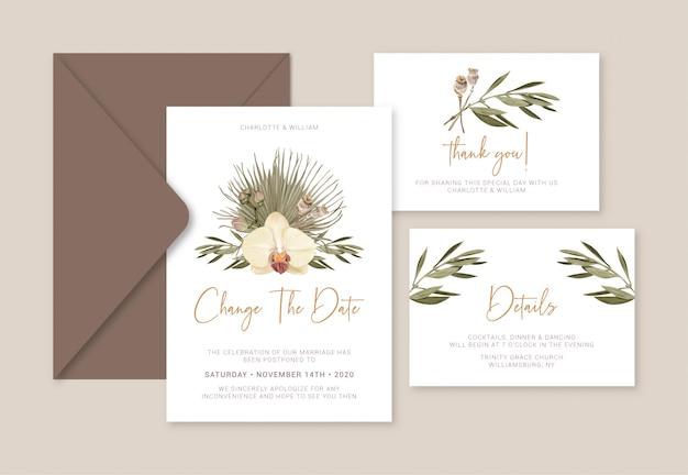 Boho wedding card cambia la fecha Vector Premium