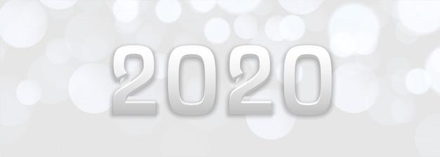 Bokeh blanco abstracto año nuevo 2020 banner vector gratuito