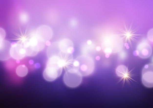 Bokeh luces y estrellas de fondo vector gratuito
