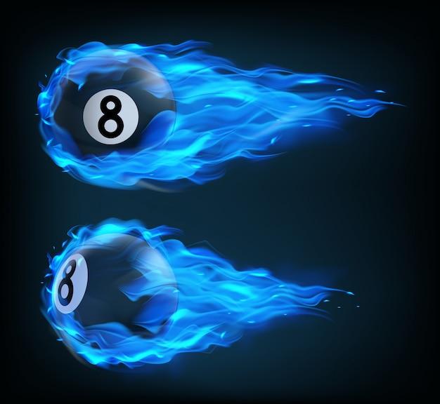 Bola de billar negro volador ocho en fuego azul vector gratuito