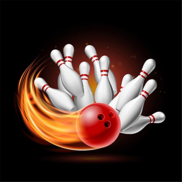 Bola de bolos roja en llamas chocando contra los pines sobre un fondo oscuro. ilustración de la huelga de bolos. plantilla para cartel de competición deportiva o torneo. Vector Premium