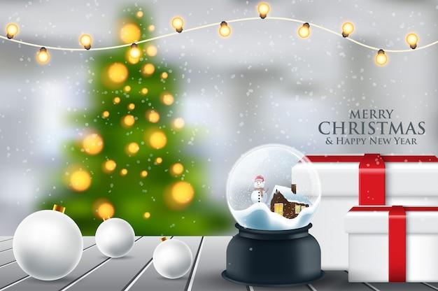 Bola De Cristal Bola De Nieve Con árbol De Navidad Cubierto