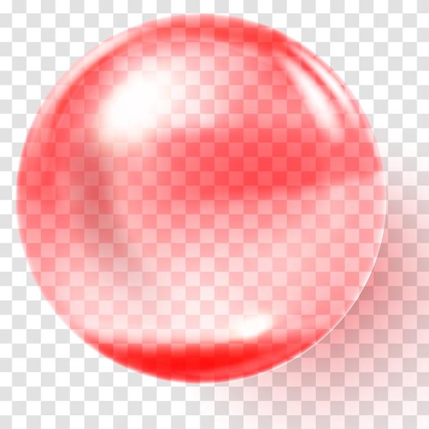 Bola de cristal rojo realista. esfera roja transparente Vector Premium