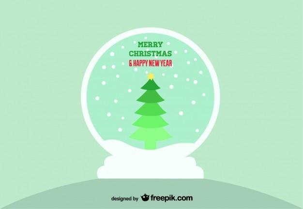 bola de nieve con rbol de navidad vector gratis