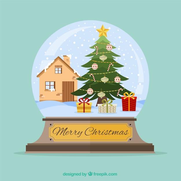 Bola de nieve con casa y rbol de navidad descargar vectores gratis - Arbol de navidad en casa ...