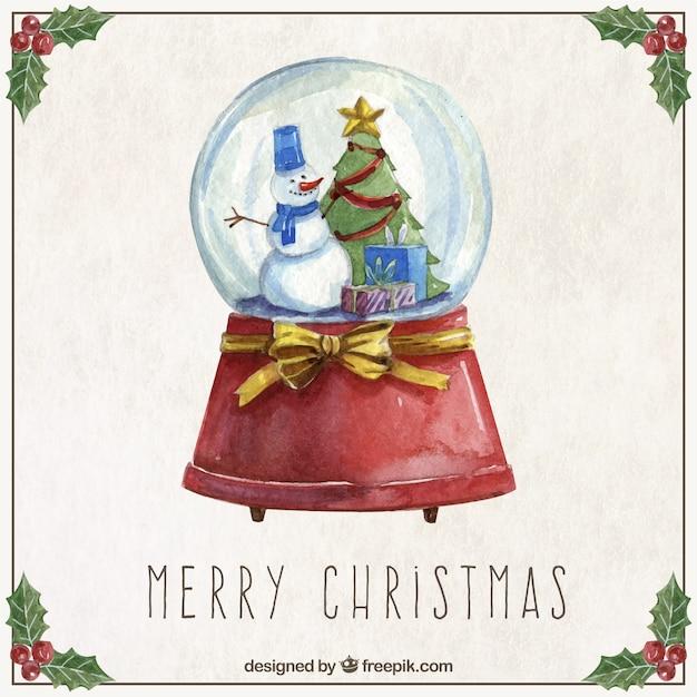 Bola de nieve de navidad en acuarela descargar vectores - Bola nieve navidad ...