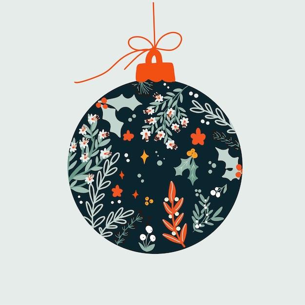 Bola de decoración floral navideña Vector Premium