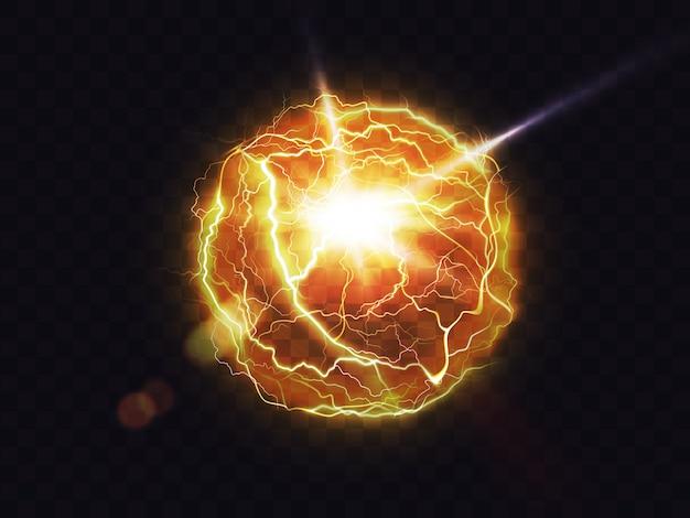 Bola eléctrica, bola de fuego relámpago, destello de energía vector gratuito