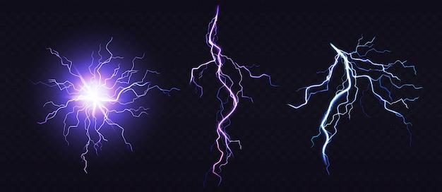 Bola eléctrica y rayo, lugar de impacto. vector gratuito
