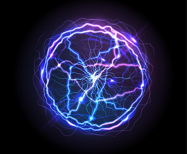 Bola eléctrica realista o esfera de plasma abstracta vector gratuito