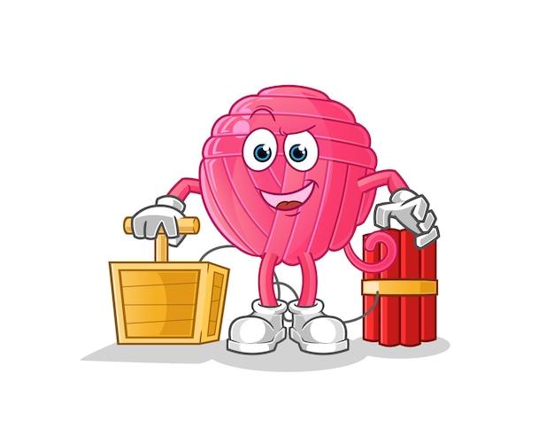 Bola de hilo con carácter detonador de dinamita. mascota de dibujos animados Vector Premium
