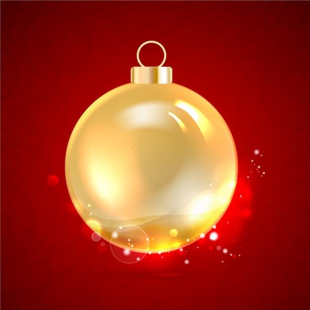Bola de navidad dorada aislada en rojo. vector gratuito