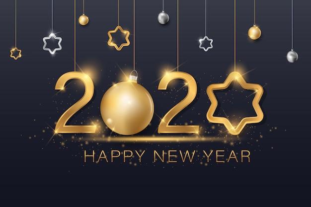 Bola de navidad estrella copo de nieve confeti dorado y negro colores encaje para texto 2020 Vector Premium